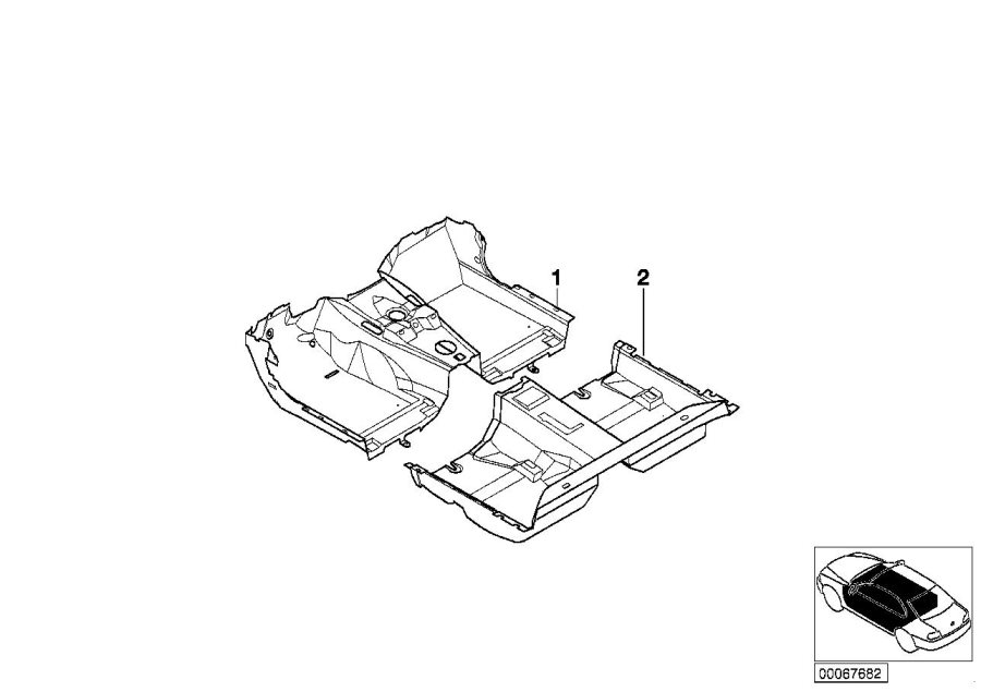 BMW 325Ci Floor covering front. Carpet. Ecru. Trim