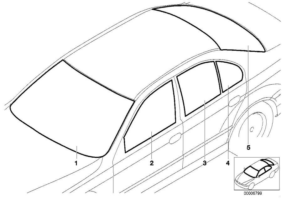 BMW 530i Green windscreen, green shade band. Glazing