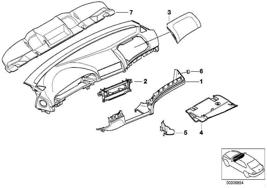 BMW 540iP Trim panel dashboard LOWER. SANDBEIGE. Mounting
