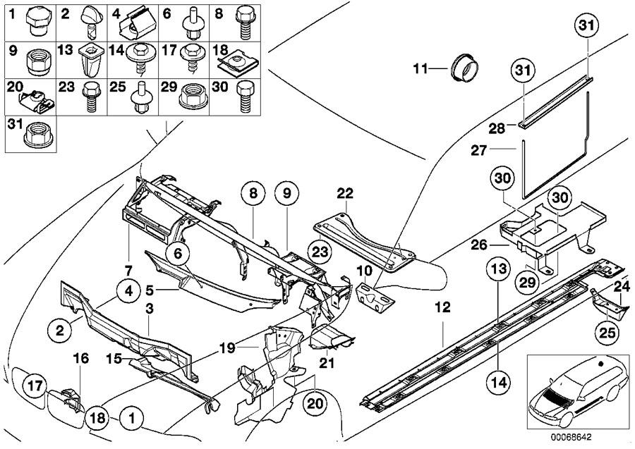BMW 540i Left engine compartment closing panel. Body