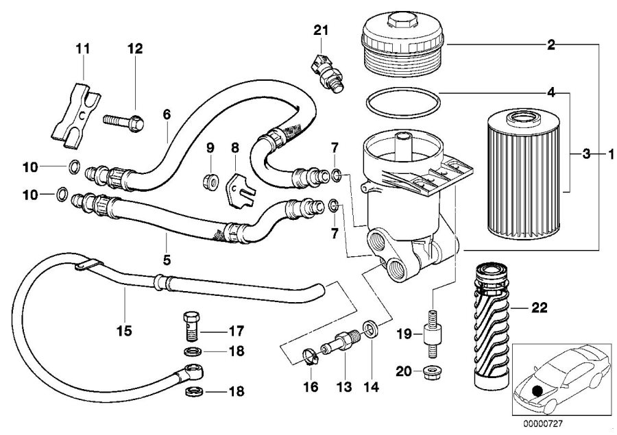 BMW 740iL Pressure hose assy outlet. Lubrication, system