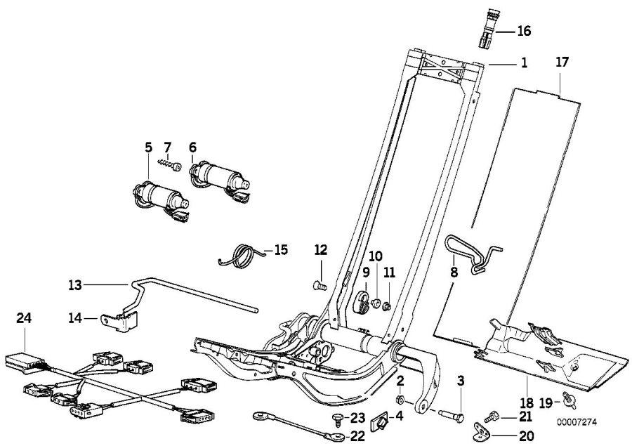 BMW 325i Wiring set f right seat adjust./lordosis