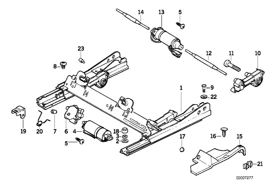 BMW 318i Actuator inclination adjusting. Seat, front, rail