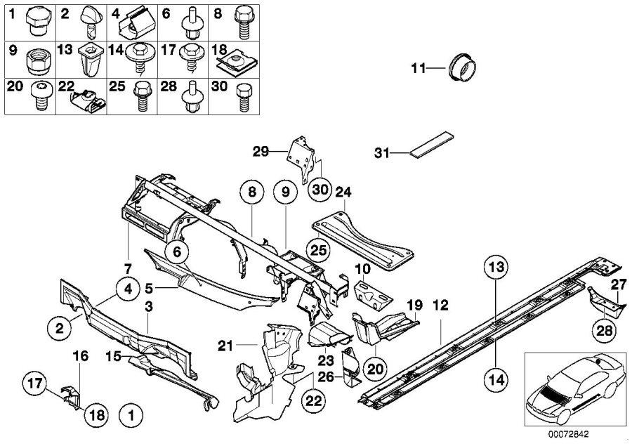 BMW M5 Left engine compartment closing panel. Body