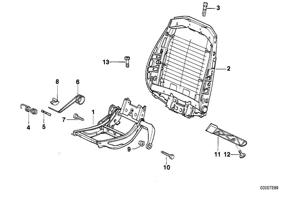 BMW 318is Right upper part of seat mechanism. Front, frame