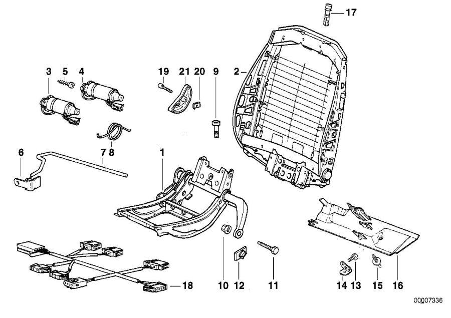 BMW M3 Actuator, backrest adjustment. Seat, Front, Frame