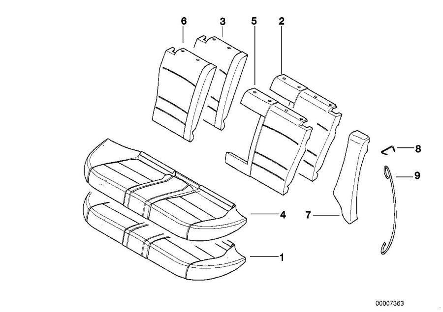 BMW 540i Foam plastic part left backrest. Rear, Seat