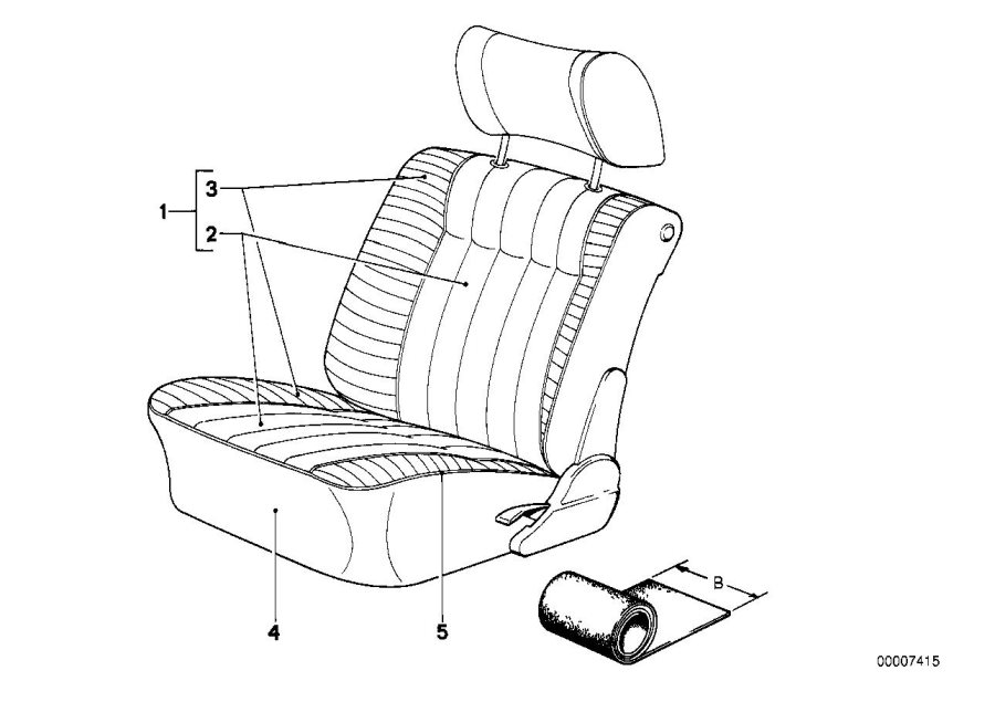 BMW 528e Upholstery cloth pacific. 0092/0130/0151