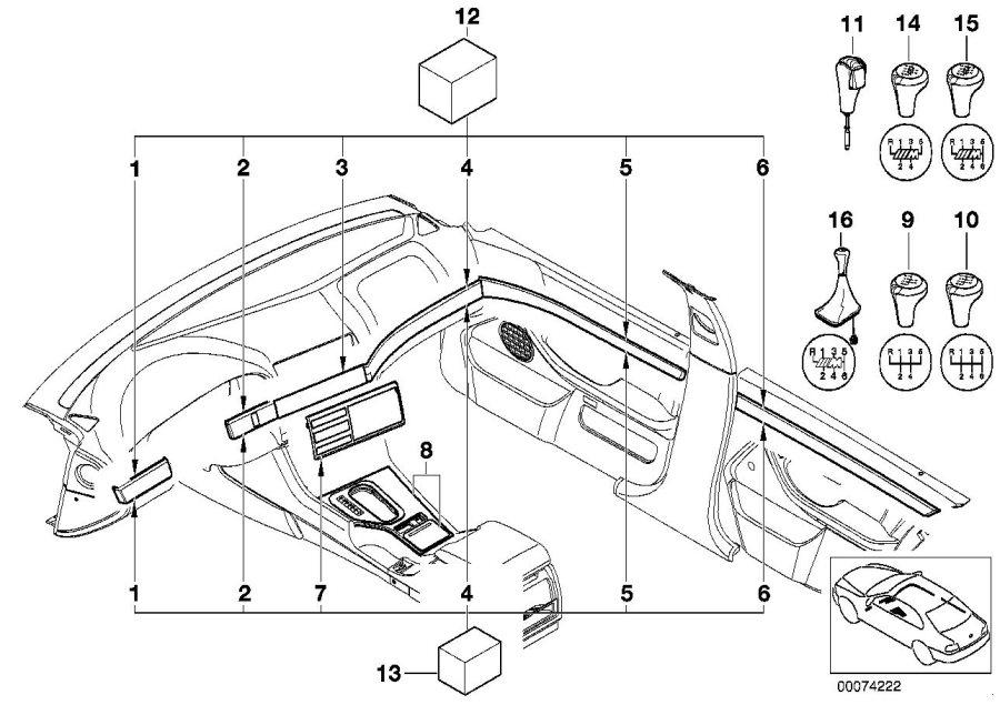 BMW 540i Wooden strip, door rear left. PAPPEL NATUR. Inner