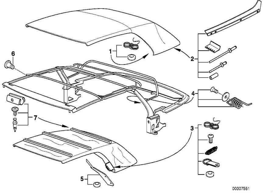 BMW 323i Repair kit f column c cover insert. Folding, top