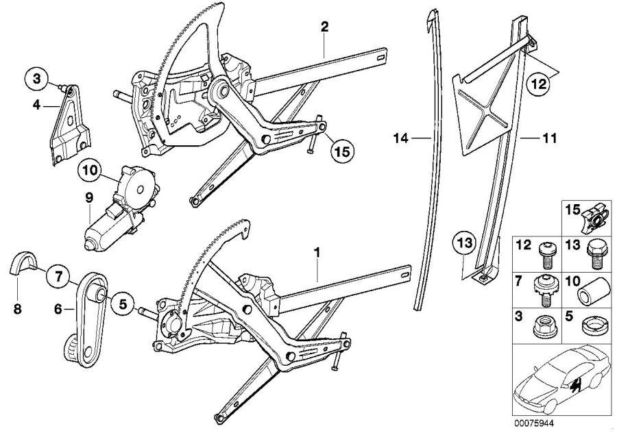 BMW Z3 Crank, window lifter. SCHWARZ. Trim, Door, Body