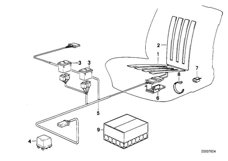 BMW 318is Heater element backrest. Heating, Seat