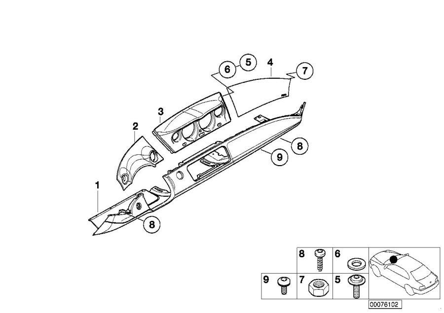 BMW Z8 Airbag dashboard lid. Titansilber dkl. Trim