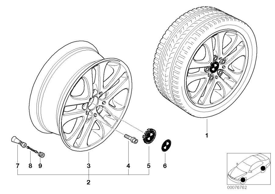 BMW 330Ci Light alloy rim. 7JX17 ET:47. Wheels, Wheel