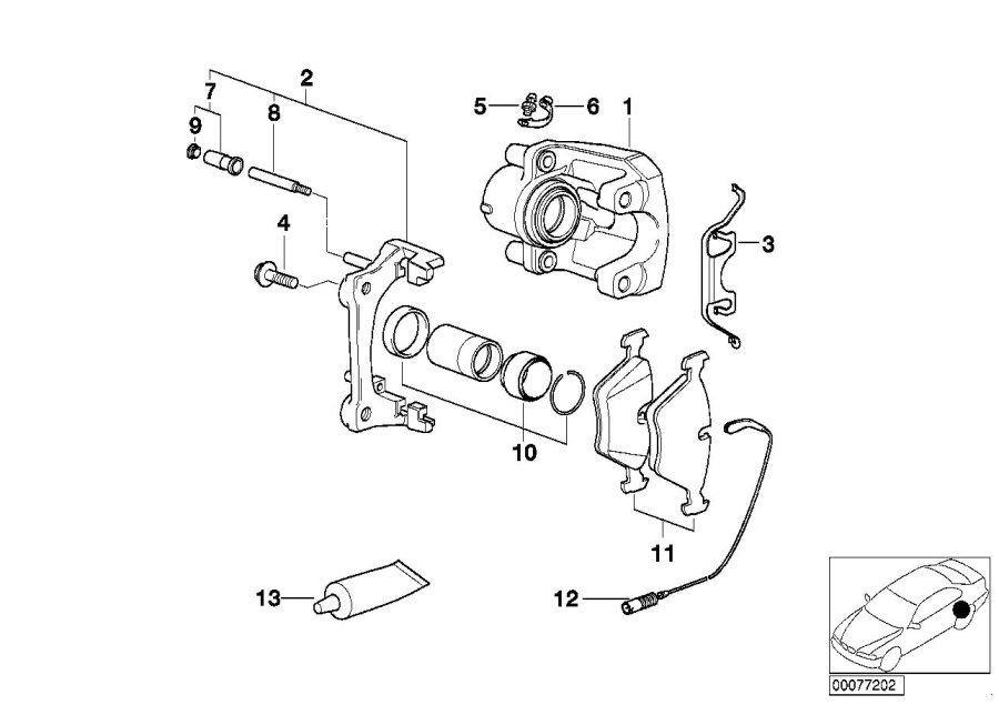 BMW 525i Repair set brake caliper. Brakes, sensor, rear