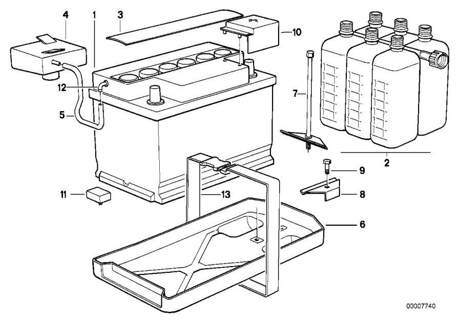 1989 BMW M3 Battery, manuf.: Exide (Warranty Only). 50AH