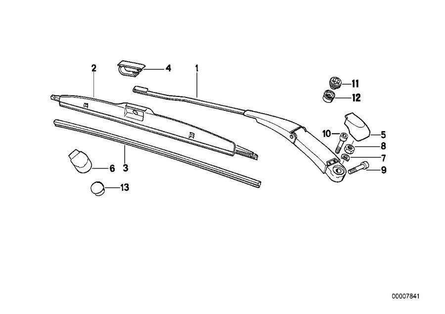 BMW 850Ci Wiper arm, left. Lamp, Head, Electrical
