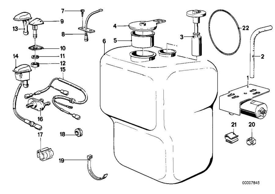 BMW 635CSi Wiring engine room lamp/spraying nozzle. System