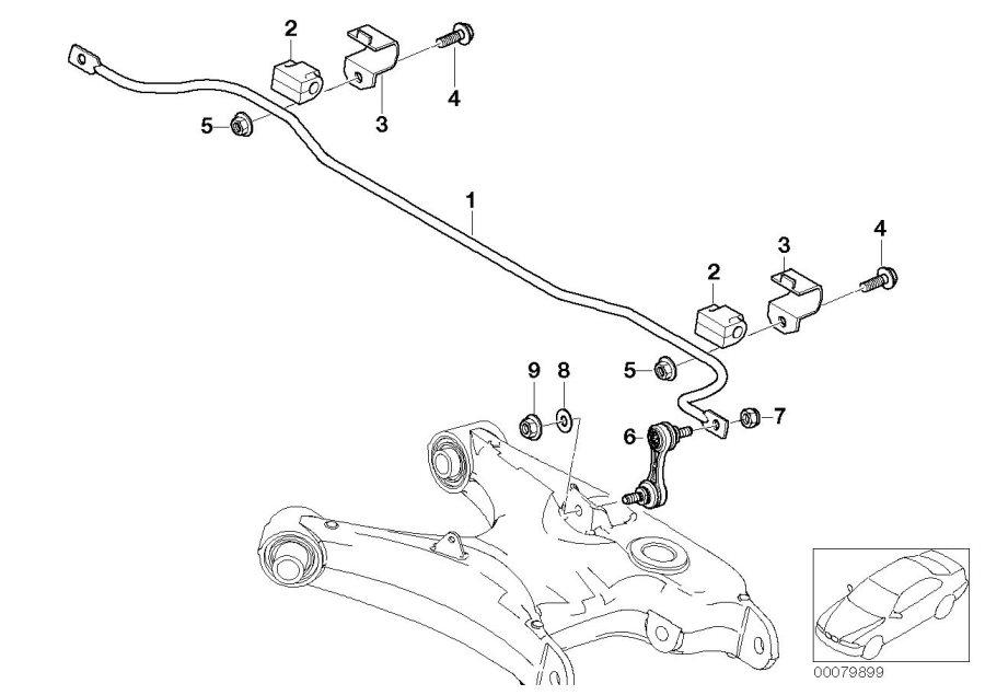 BMW 540i Stabilizer, rear. D=15MM. Suspension, Axle
