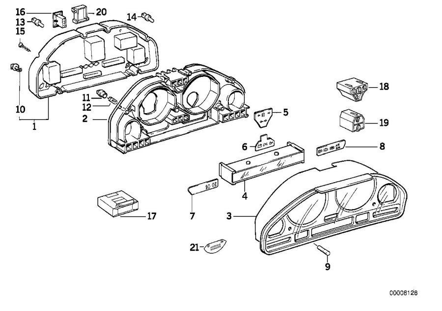 BMW 540i Label premium fuel. English. Instruments