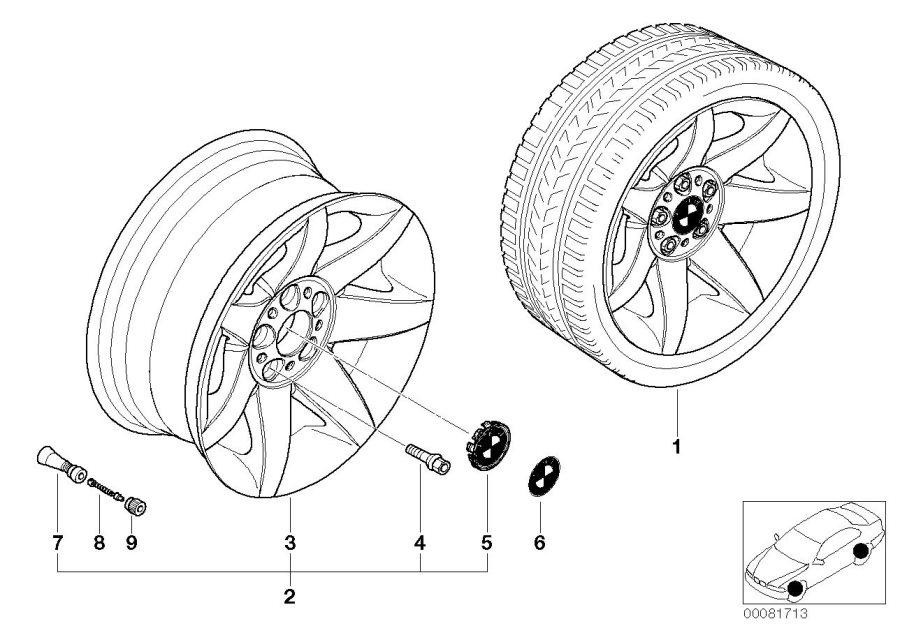 BMW 540i Light alloy rim. 8JX17 ET:20. Wheels, Wheel