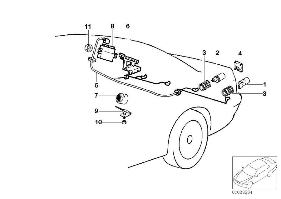 BMW 850Ci Bracket f trigger contact pdc. Distance