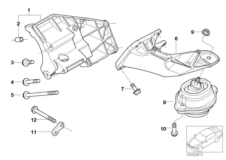 BMW X5 Support f air cond.compress.supp.bracket. Engine
