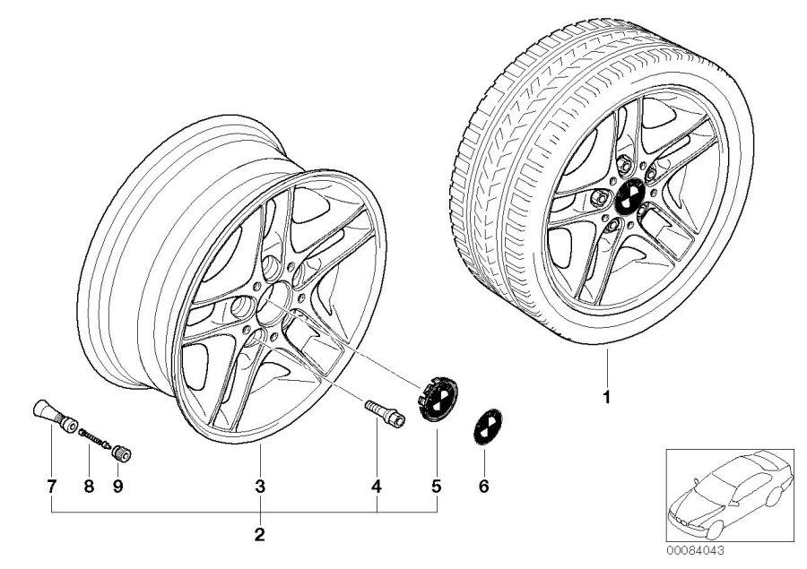 BMW 323i Light alloy rim. 7JX16 ET:47. Wheels, Wheel