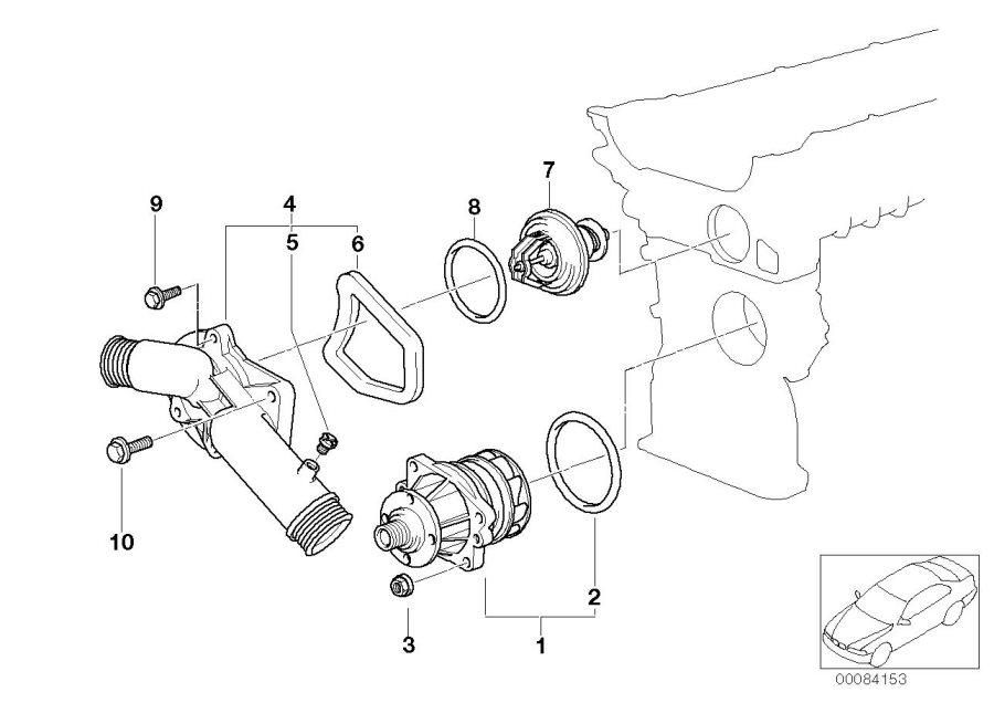 BMW 528i Coolant pump, mechanical. Engine, Cooling