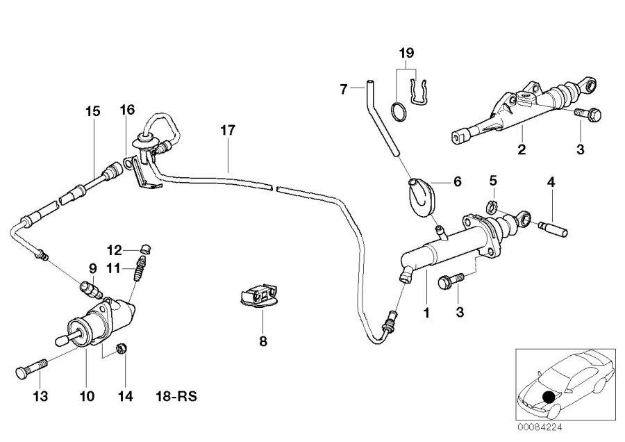 BMW 540i Bracket. Control, Clutch, Transmission