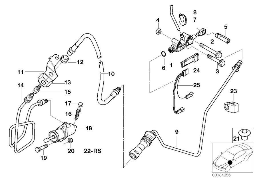 BMW 330xi Pressure hose assy. Control, clutch