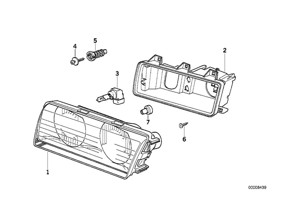 BMW 318i Intermediate piece. Headlight, System, Single