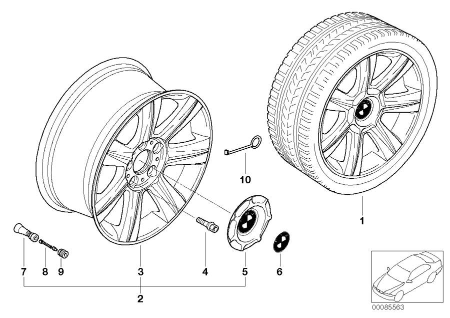 BMW 320i Light alloy rim. 8JX17 ET:47. Wheels, Wheel