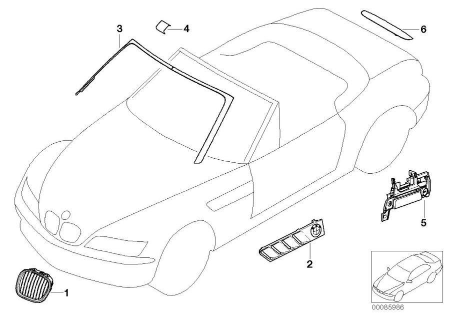 BMW Z3 Catch with key code right. Chrom. Door, trim, front