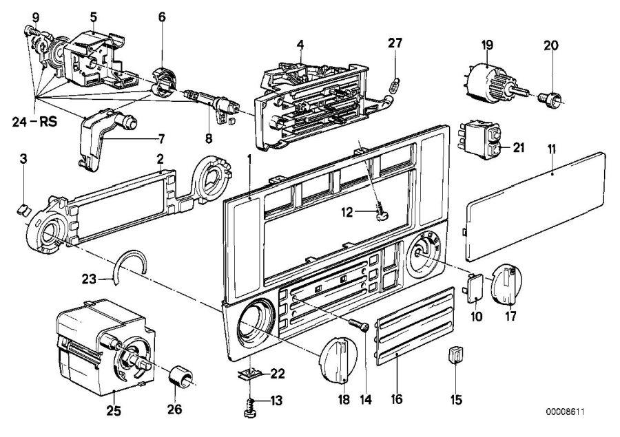 BMW 325e Repair set temperature switch. Heater, Control
