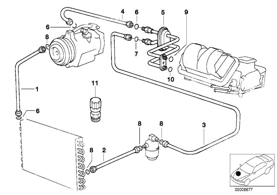 BMW 318is Pressure hose, compressor-condenser. R12/R134A