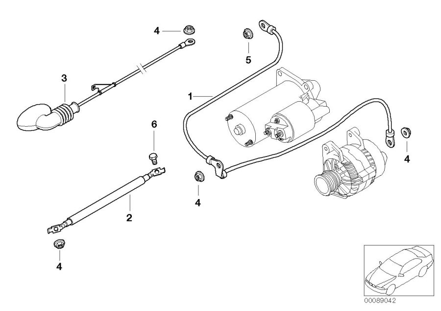 BMW X5 Battery cable (plus pole). Electrical, System