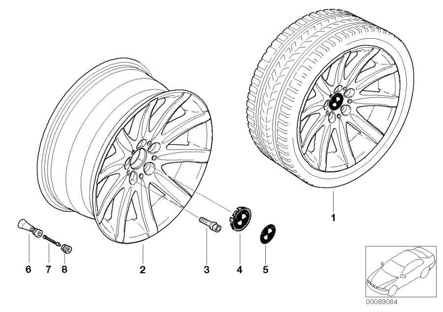 BMW 745i Light alloy rim. 10JX19 ET:24. Wheels, Wheel