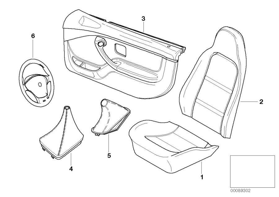 BMW Z3 Door trim panel, front right / airbag. SW