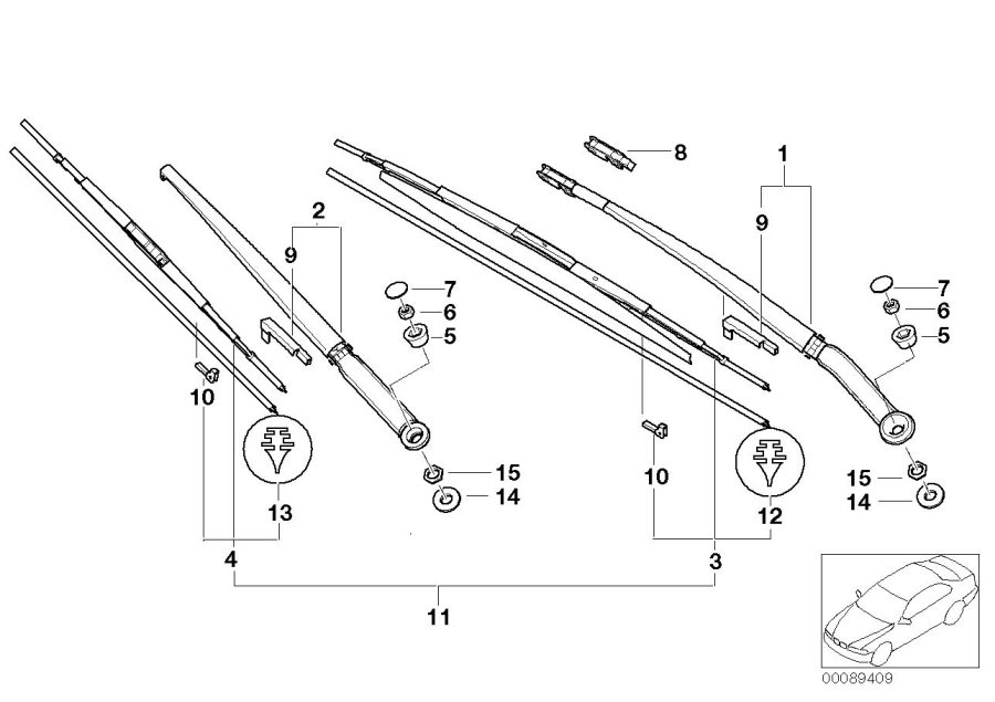 BMW 325Ci Wiper blade guide, wiper blade. System, Syst