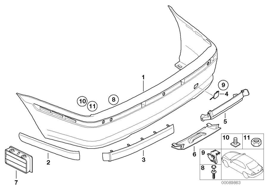 BMW 325i Flap, towing eye, primed. Trim, Rear, Panel