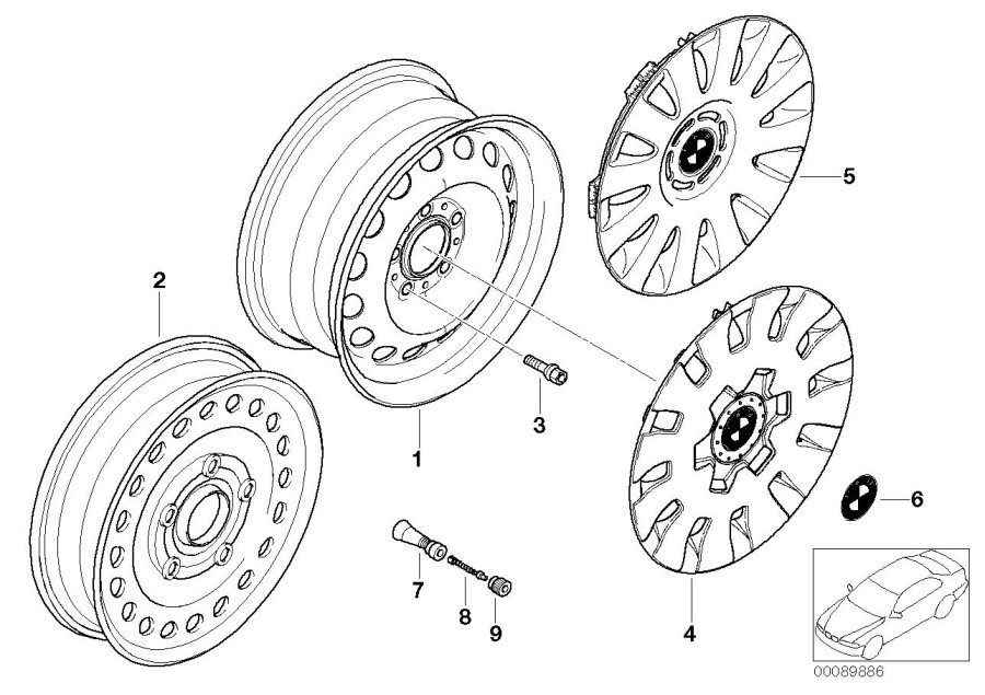 BMW 325Ci Compact spare wheel, steel, black. 3.0BX16 ET:32