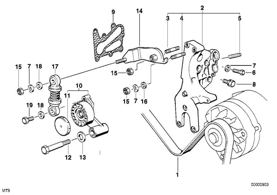 BMW 750iL Alternator supporting bracket. Belt, Drive
