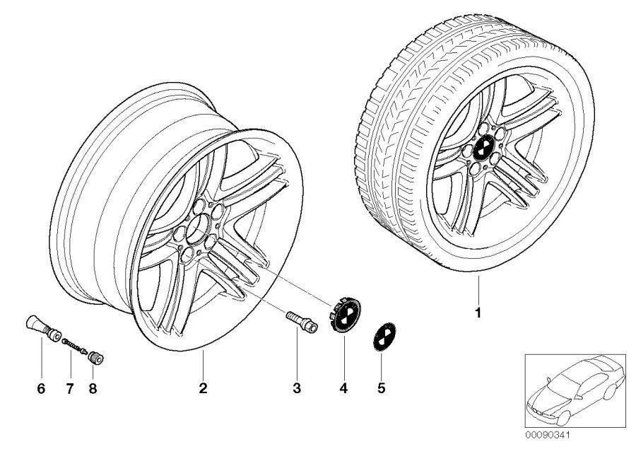 BMW 760i Screw-in valve, RDC. SCHWARZ. Yes, STYL, STYLING