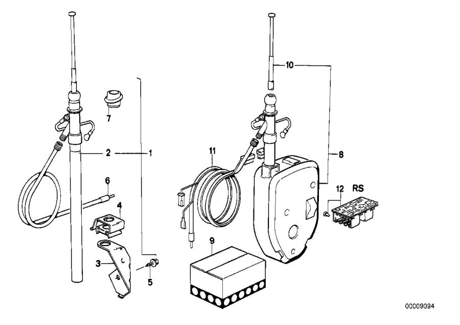 BMW 533i Wiring rear. 5400mm. Antenna, electrical, system