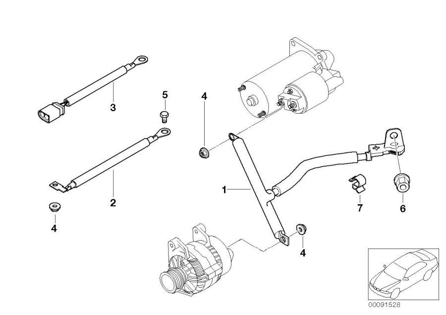 BMW 650i Cable alternator-starter-base b+. Battery, system