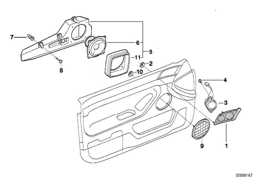 BMW 740iL Cover Loudspeaker. SANDBEIGE. Single, Hifi, Door