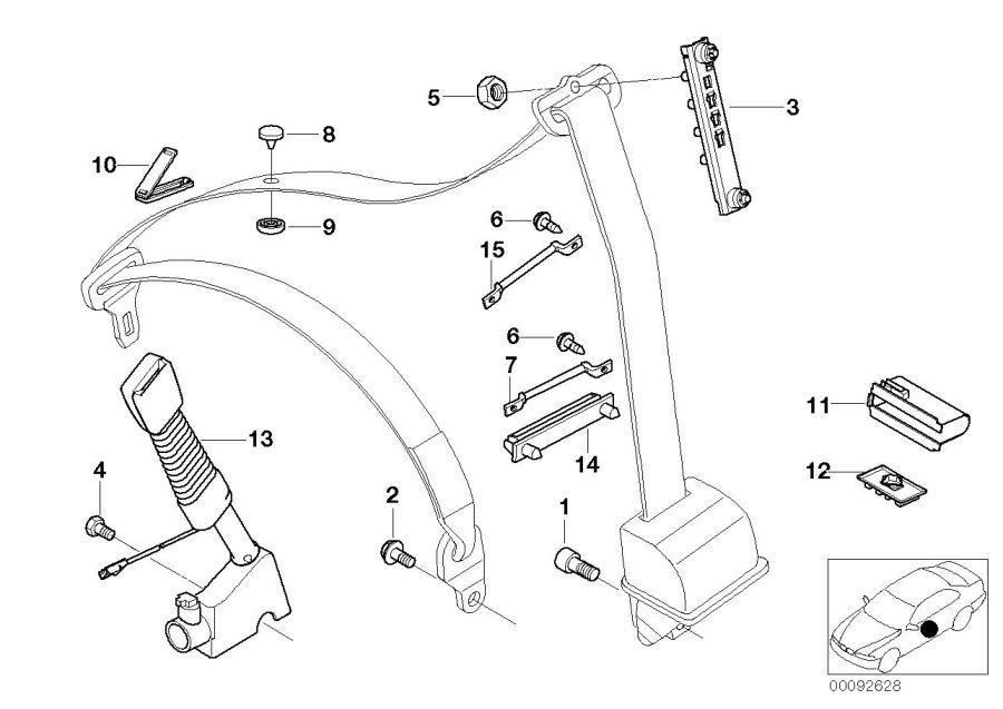 BMW X5 Lower belt with left belt tensioner. Safety, system