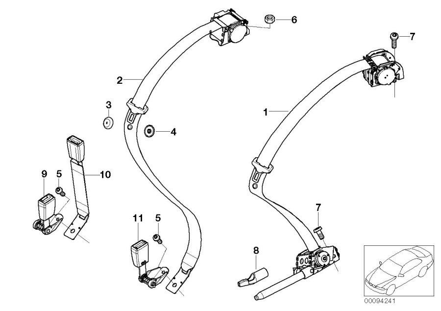 BMW 745i Lower belt rear center. Electrical, seat, system