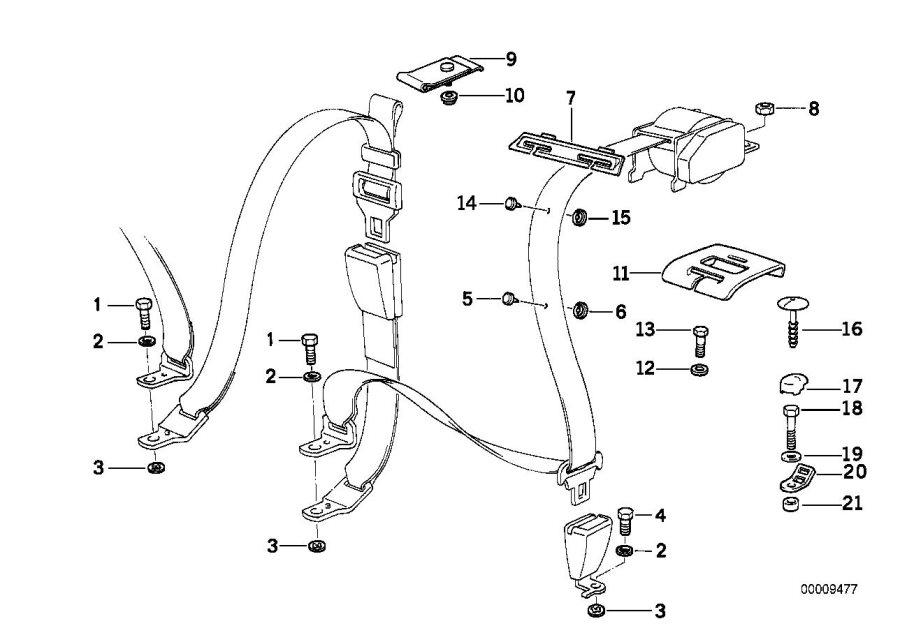 BMW 320i Covering rear. Grau. Safety, electrical, belt